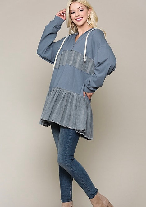 Mixed Fabric Tiered Hooded Tunic Denim