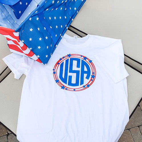 Monogrammed Patriotic Tshirt