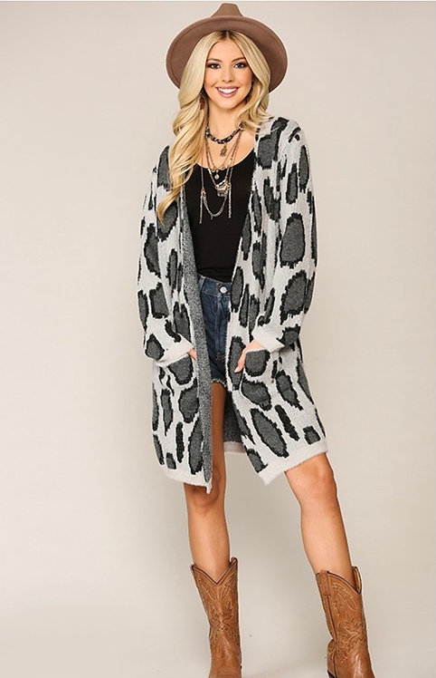 Cheetah Knit Sweater Cardigan with Pockets