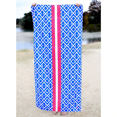 Delray Beach Towel in Blue and Hot Pink