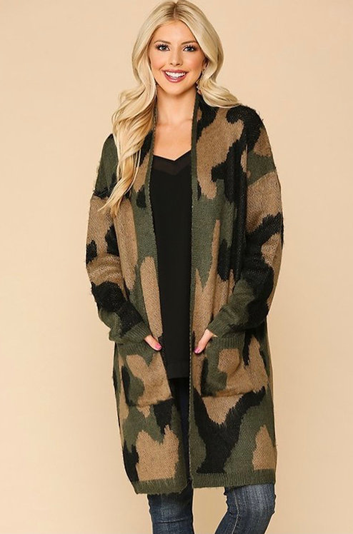 Camouflage Long Sleeve Cardigan Sweater