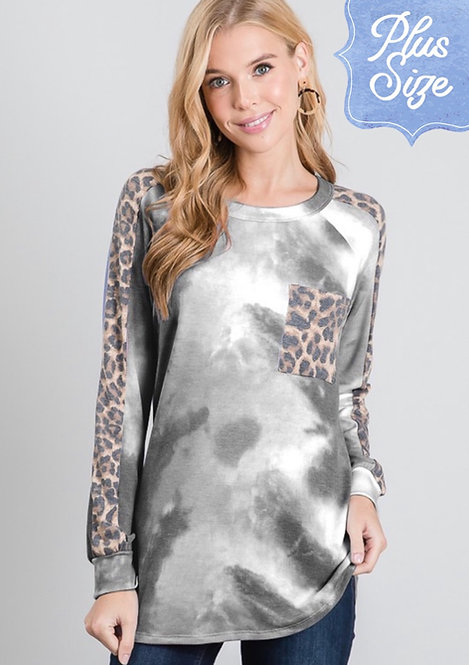 Curvy Gray Tie Dye and Leopard Contrast Tunic