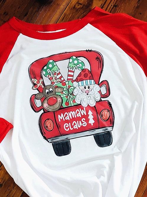 Personalized Christmas Truck w Santa, Elf and Reindeer