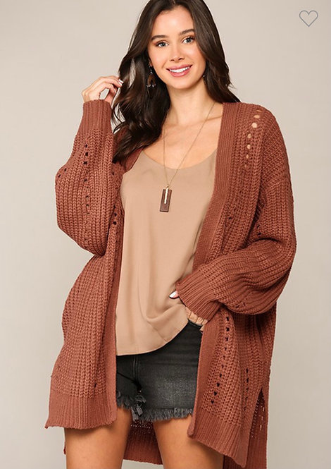 Side Pocket Slouchy Knit Sweater Cardigan