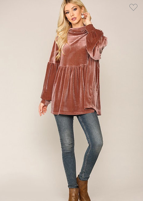 Velvet Solid Turtle Neck Shirring Rose Clay