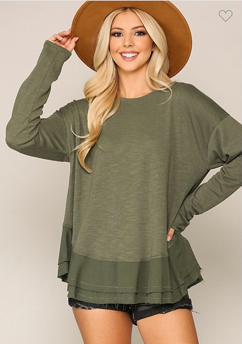 Textured knit and woven top wit double ruffle