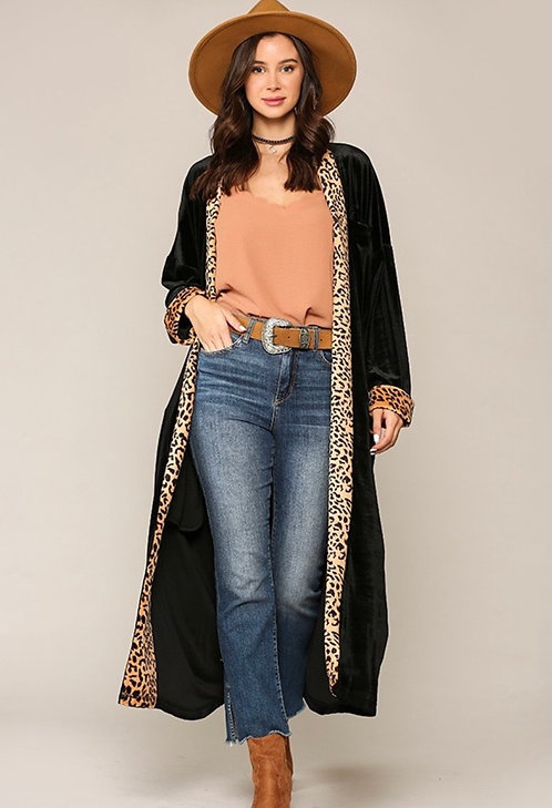 Black Velvet Duster with Leopard Trim