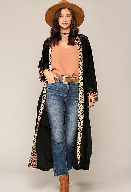 Black Velvet Duster with Leopard Trim