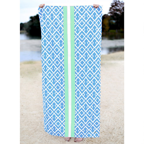 Delray Beach Towel in Blue and Lime Green