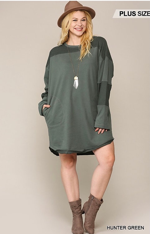 Reversed Detail Dress with Pocket Hunter Green