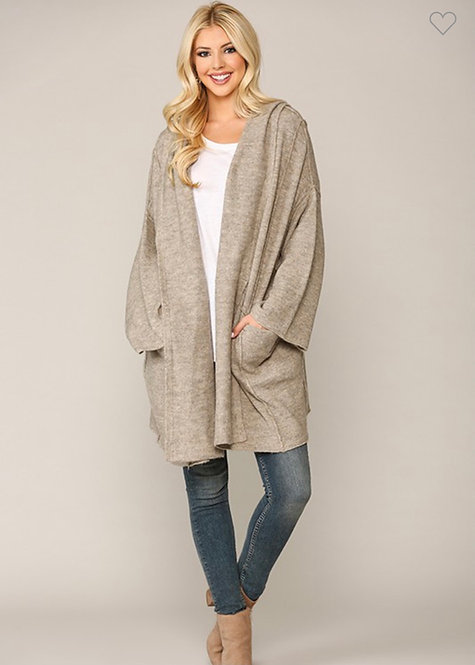 Long Sleeve Hoodie Cardigan with Pockets Oatmeal