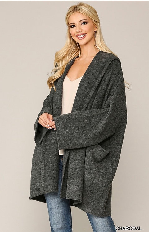 Long Sleeve Hoodie Cardigan with Pockets Charcoal
