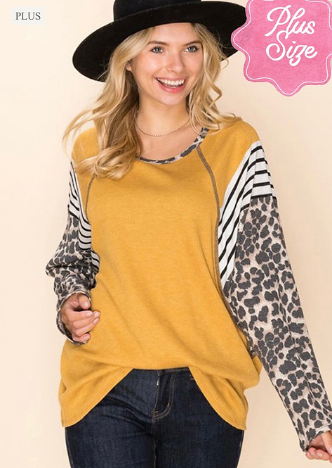 Curvy Long Sleeve Leopard Contrast Tunic