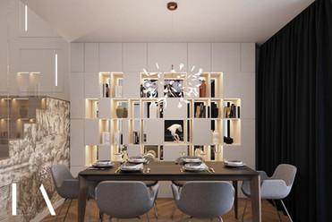Salon z jadalnią LIBRA Architekci