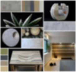 Planche tendances et inspirations décoration Lamellé Roches, ameublement en marbres, pierres, granit,