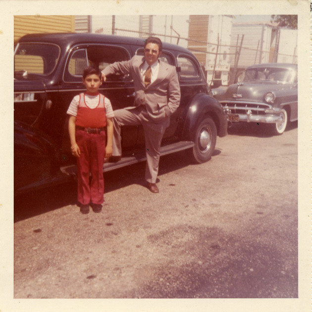Rene and Julio Ruelas at the homestead on 41st Place, Dukes Car Club, South Central, 1970s