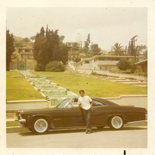 Santos and his 1965 Chevy, Imperials Car Club, Cascades Park, Monterey, 1970s