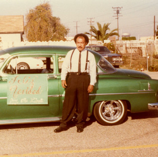 Yeyo with his 1954 Chevy, Oxnard, 1981