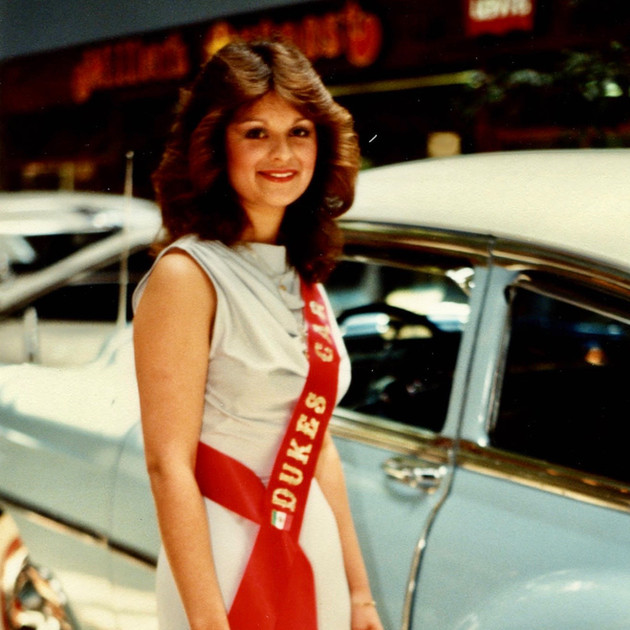 Dukes Car Club Lowrider Beauty Queen, Lowrider Beauty Pageant, Ventura, 1980s