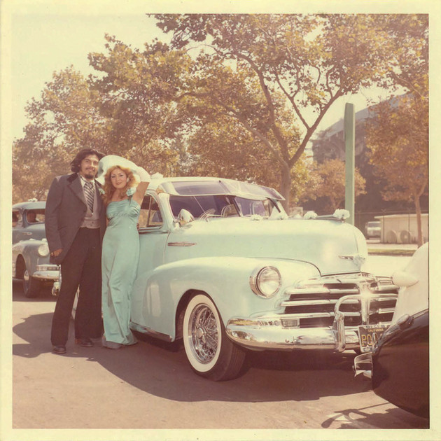 Al and date with Julio's 1947 Chevy, Los Angeles, 1974