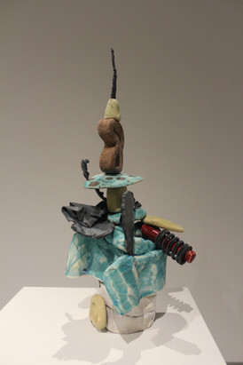"""The Witty One, Low fire white earthenware, steel, 9"""" x 4"""" x 5"""""""