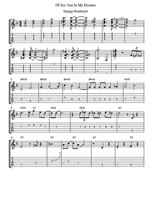 I'll See You In My Dreams by Django Reinhardt - Guitar Tab