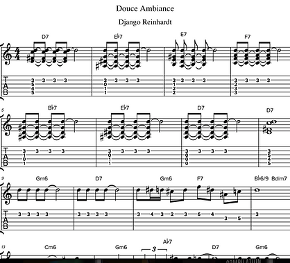 Douce Ambiance by Django Reinhardt - Guitar Tab