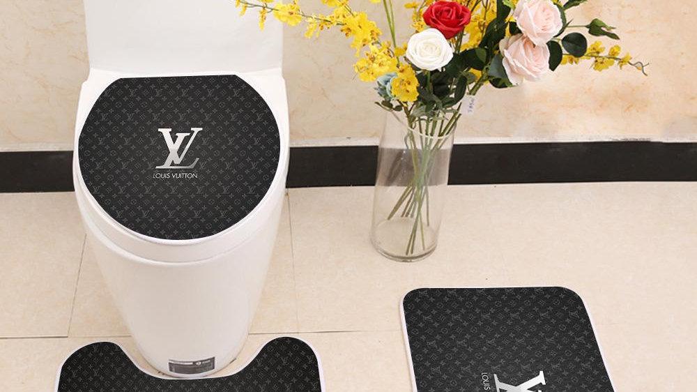 Awe Inspiring Luxury Louis Vuitton Logo Floor Carpet Toilet Rug Lid Cover 3 Piece Bath Mat Set Andrewgaddart Wooden Chair Designs For Living Room Andrewgaddartcom
