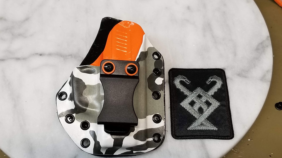 Artic Camo and Orange with Leather backer i.w.b.