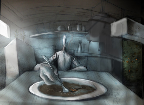 Man eating interior sketch