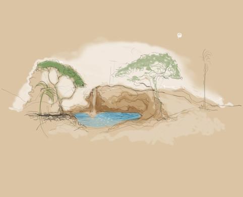 Small lake in Desert sketch