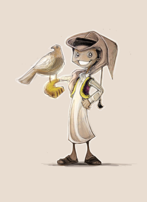 Gulf boy and his falcon pet character sketch