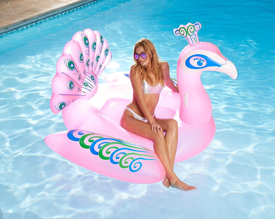 Pink Peacock Pool Float