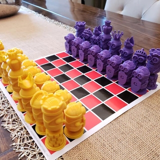 3D printed Minion chess set.