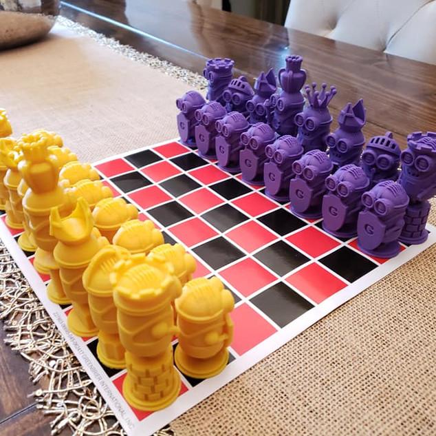 3D printed Minion chess set.
