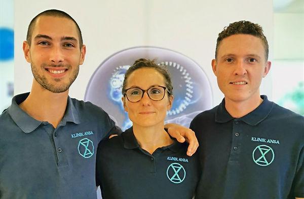 Medejerne og behandlerne i Klinik ANSA. Michael, Maria og Christian. Fysioterapeuter og P-DTR udøvere.