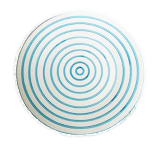 Striped Dinner Plate Turquoise & White Set of 4