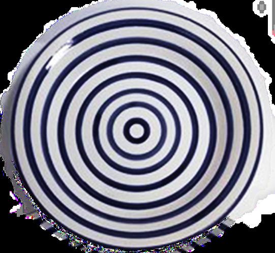 Striped Dinner Plate - Cobalt & White - Set of 4