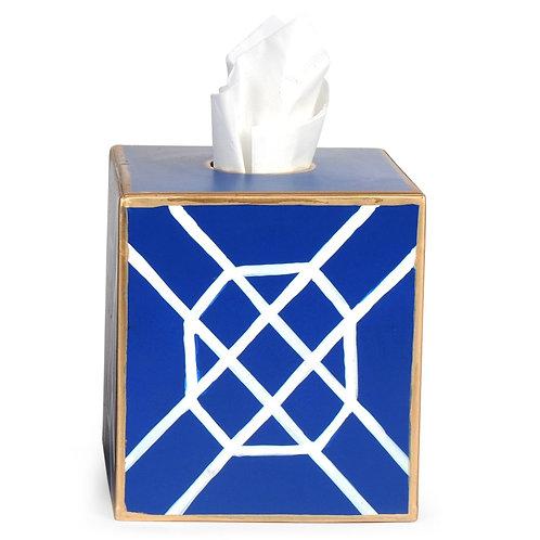Tole Boutique Tissue Box Cover - Fret Blue