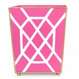 Tole Wastebasket Fret Pink