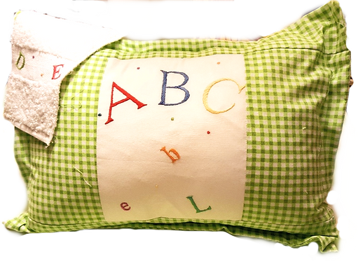Hand Embroidered Baby Pillow & Washcloth