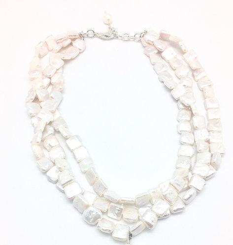 Square Pearl Three Strand Necklace