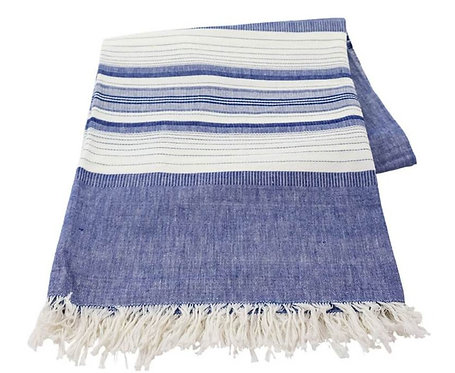Blue Chambray Striped Tablecloth - 60 x 80
