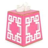 Tole Boutique Tissue Box Cover - Greek Key Pink
