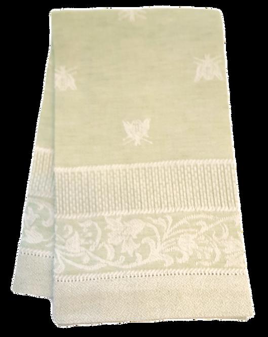 Green & Ivory Cotton/Linen Bee Guest Towel