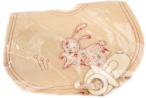 Organic Cotton Bunny Bib with Teething Ring Holder