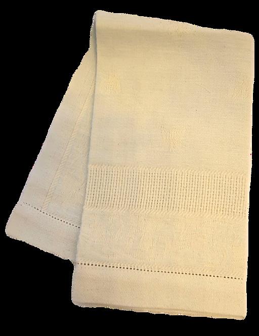 Pale Aqua & Ivory Cotton/Linen Bee Guest Towel