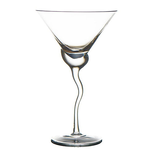Martini Glass with Wave Stem Set of 2
