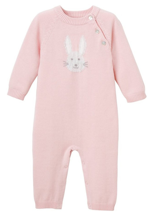 Pink Bunny Baby Cotton Knit Jumpsuit