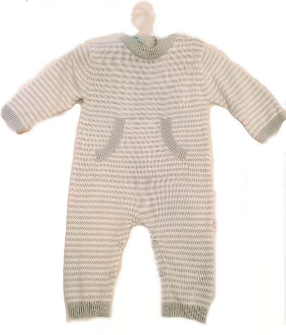 Blue & White Striped Baby Cotton Jumpsuit